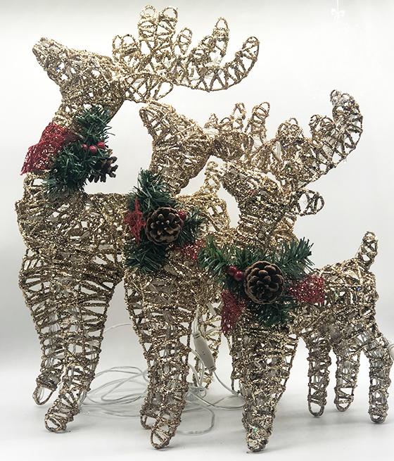 Каркасная новогодняя фигура «Золотой олень»